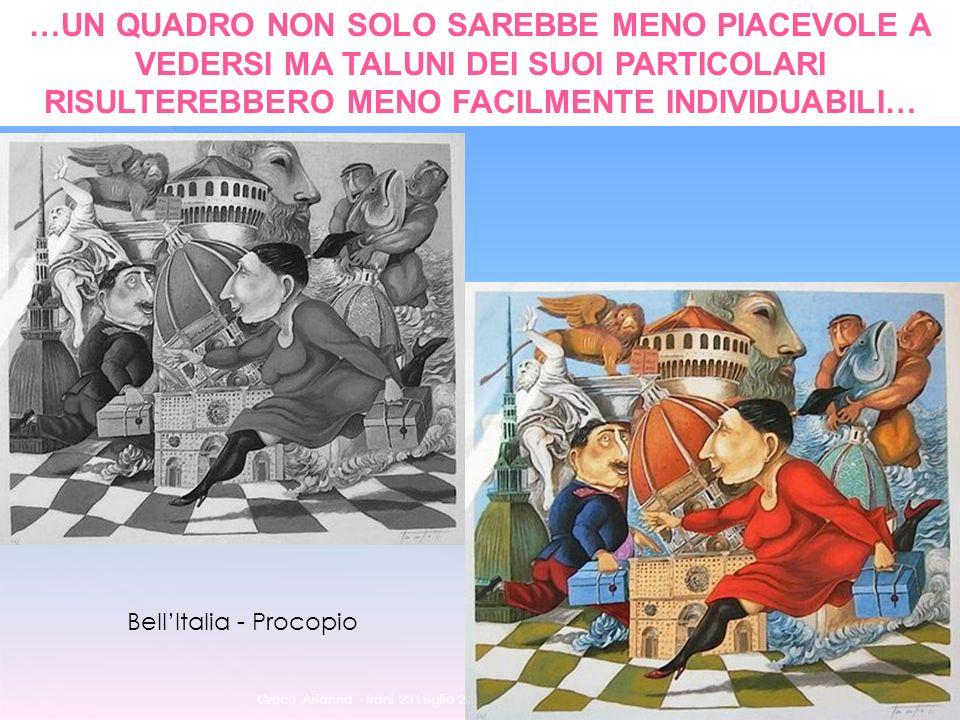 Greco Arianna - Trani 23 Luglio 2011 45 …UN QUADRO NON SOLO SAREBBE MENO PIACEVOLE A VEDERSI MA TALUNI DEI SUOI PARTICOLARI RISULTEREBBERO MENO FACILMENTE INDIVIDUABILI… BellItalia - Procopio