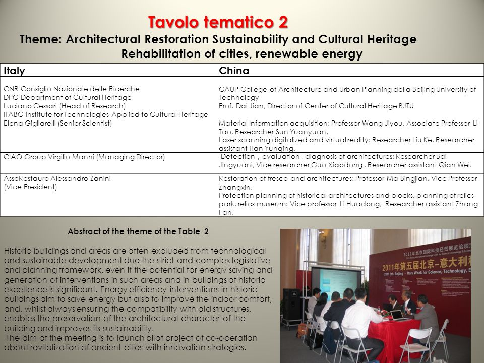 Tavolo tematico 2 Theme: Architectural Restoration Sustainability and Cultural Heritage Rehabilitation of cities, renewable energy ItalyChina CNR Consiglio Nazionale delle Ricerche DPC Department of Cultural Heritage Luciano Cessari (Head of Research) ITABC-Institute for Technologies Applied to Cultural Heritage Elena Gigliarelli (Senior Scientist) CAUP College of Architecture and Urban Planning della Beijing University of Technology Prof.