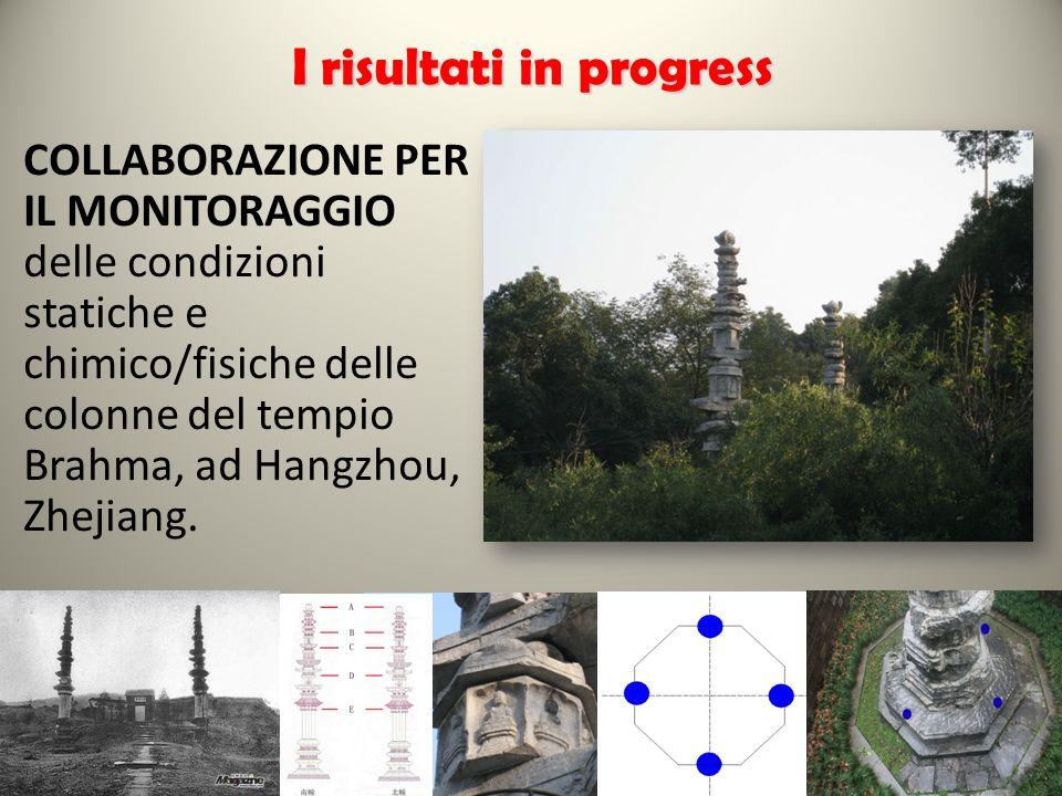 COLLABORAZIONE PER IL MONITORAGGIO delle condizioni statiche e chimico/fisiche delle colonne del tempio Brahma, ad Hangzhou, Zhejiang.