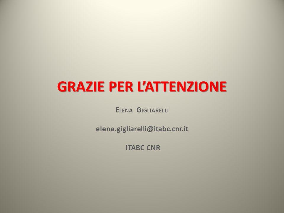 GRAZIE PER LATTENZIONE E LENA G IGLIARELLI elena.gigliarelli@itabc.cnr.it ITABC CNR