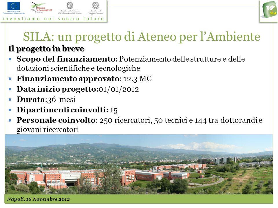SILA: un progetto di Ateneo per lAmbiente Il progetto in breve Scopo del finanziamento: Potenziamento delle strutture e delle dotazioni scientifiche e