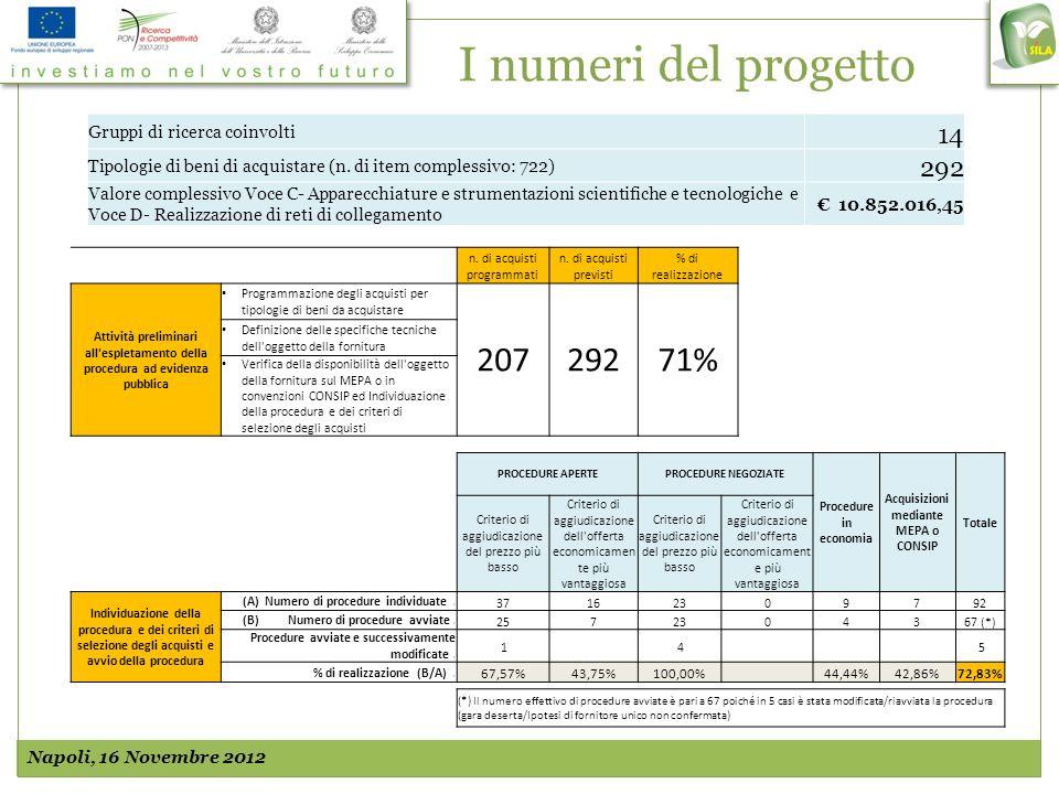I numeri del progetto Napoli, 16 Novembre 2012 n. di acquisti programmati n. di acquisti previsti % di realizzazione Attività preliminari all'espletam