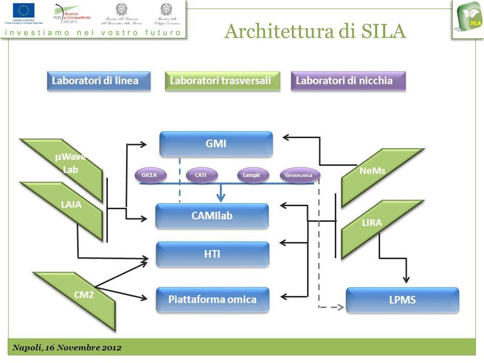 Architettura di SILA Napoli, 16 Novembre 2012 CAMIlab HTI Piattaforma omica NeMs LIRA GMI Wave Lab Wave Lab LAIA CM2 LPMS Geotecnica Lampit CATI GICEA Laboratori di linea Laboratori trasversali Laboratori di nicchia