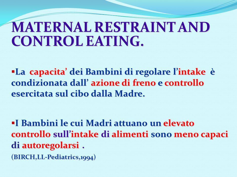 MATERNAL RESTRAINT AND CONTROL EATING. La capacita dei Bambini di regolare lintake è condizionata dall azione di freno e controllo esercitata sul cibo