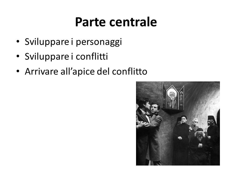 Parte centrale Sviluppare i personaggi Sviluppare i conflitti Arrivare allapice del conflitto