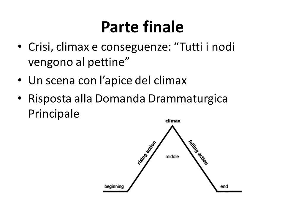 Parte finale Crisi, climax e conseguenze: Tutti i nodi vengono al pettine Un scena con lapice del climax Risposta alla Domanda Drammaturgica Principal