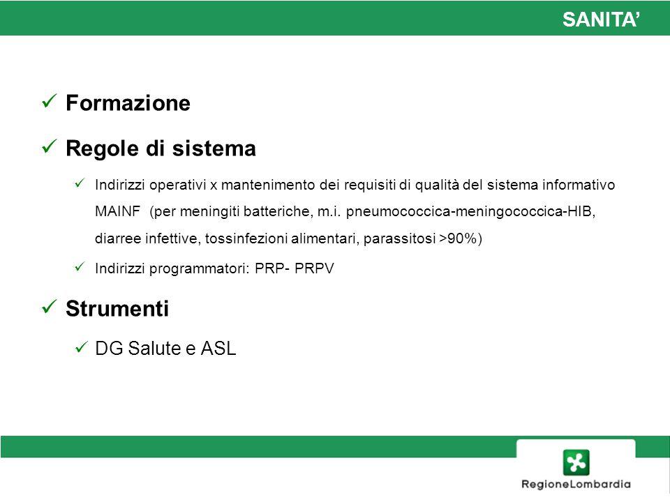 SANITA Formazione Regole di sistema Indirizzi operativi x mantenimento dei requisiti di qualità del sistema informativo MAINF (per meningiti batterich