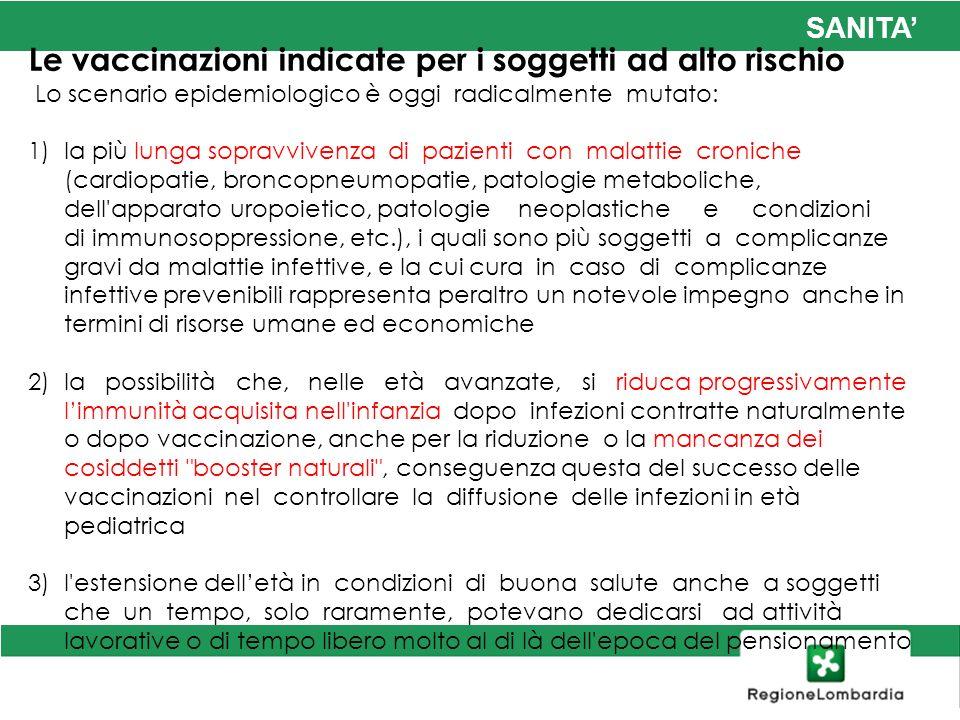 SANITA Le vaccinazioni indicate per i soggetti ad alto rischio Lo scenario epidemiologico è oggi radicalmente mutato: 1)la più lunga sopravvivenza di