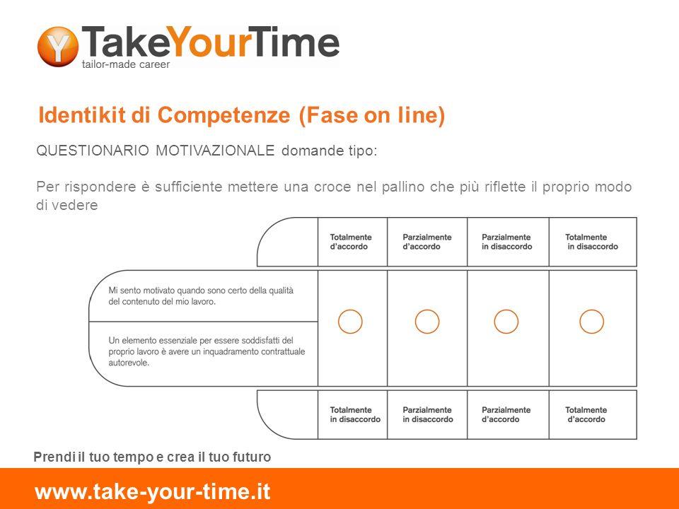Identikit di Competenze (Fase on line) QUESTIONARIO MOTIVAZIONALE domande tipo: Per rispondere è sufficiente mettere una croce nel pallino che più riflette il proprio modo di vedere Prendi il tuo tempo e crea il tuo futuro www.take-your-time.it