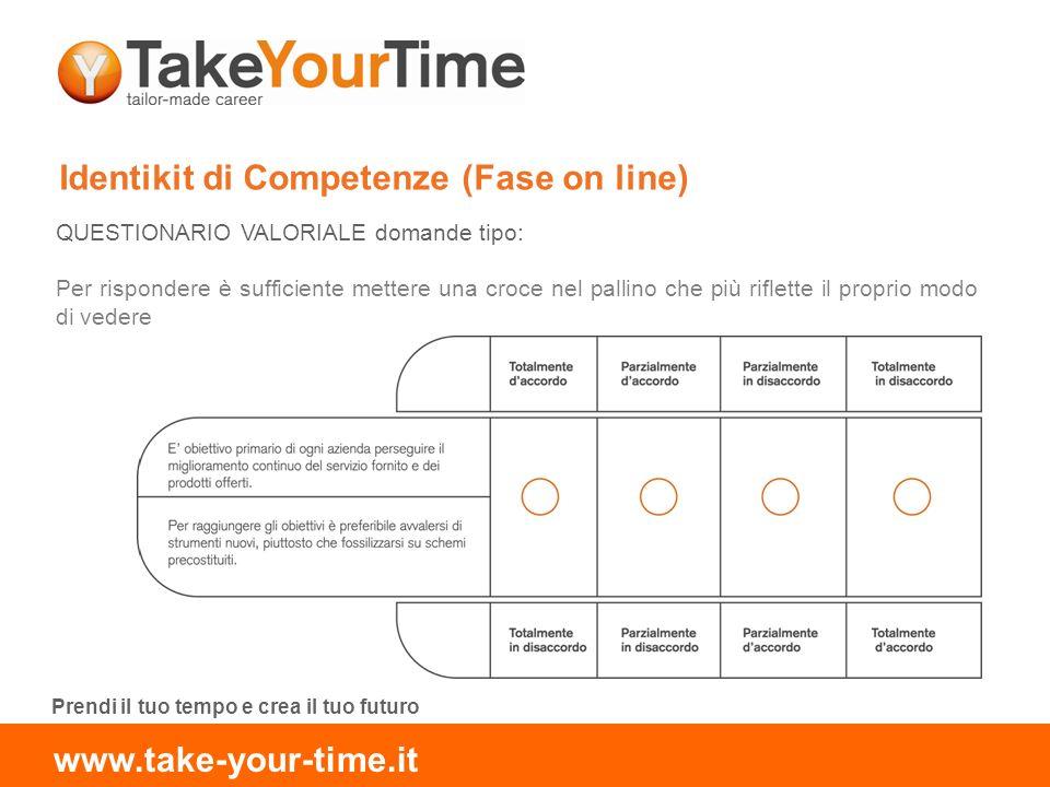 Identikit di Competenze (Fase on line) QUESTIONARIO VALORIALE domande tipo: Per rispondere è sufficiente mettere una croce nel pallino che più riflette il proprio modo di vedere Prendi il tuo tempo e crea il tuo futuro www.take-your-time.it