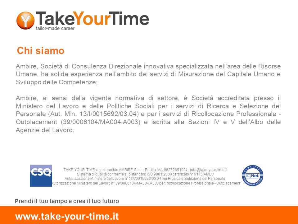 Prendi il tuo tempo e crea il tuo futuro www.take-your-time.it Chi siamo Ambire, Società di Consulenza Direzionale innovativa specializzata nellarea d