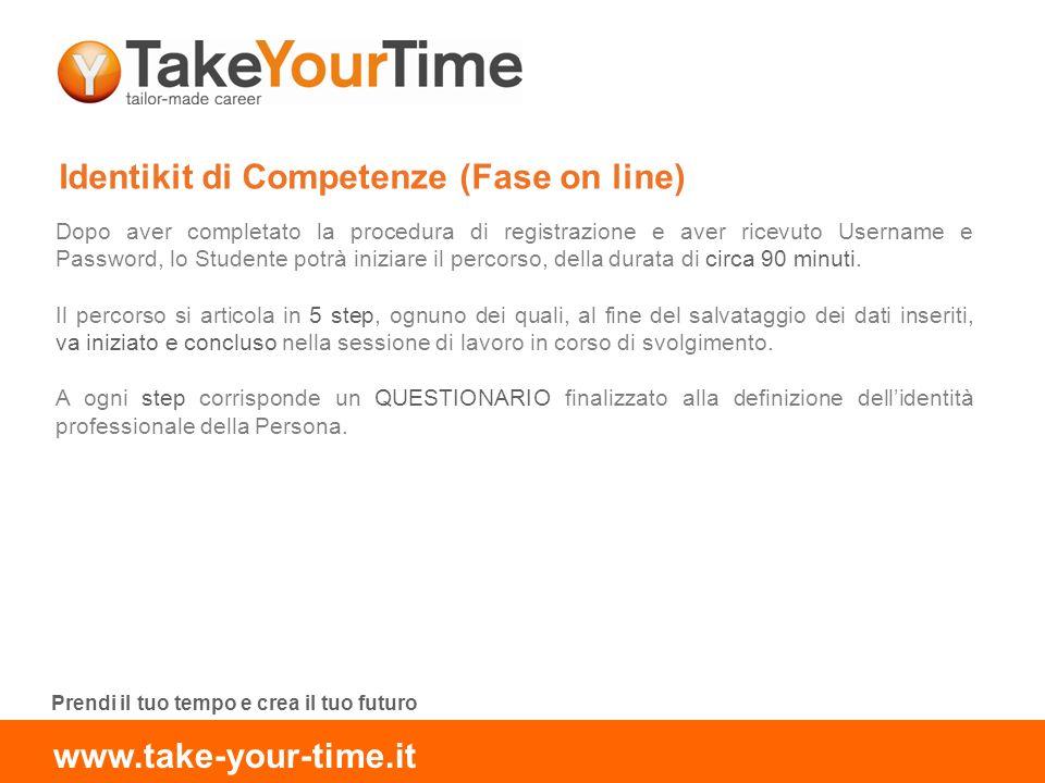 Identikit di Competenze (Fase on line) Dopo aver completato la procedura di registrazione e aver ricevuto Username e Password, lo Studente potrà iniziare il percorso, della durata di circa 90 minuti.