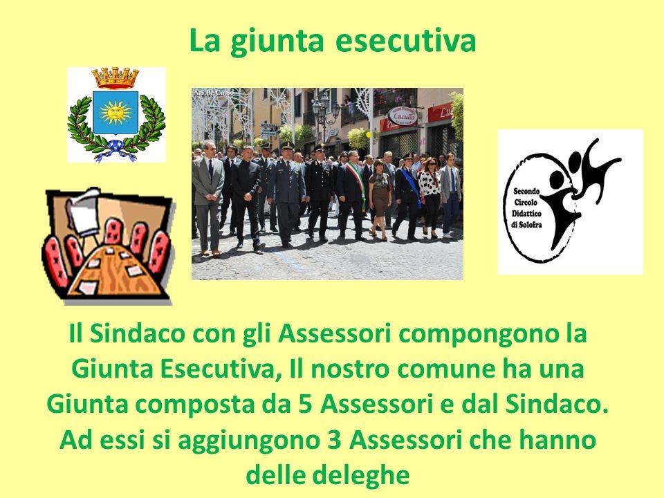 La giunta esecutiva Il Sindaco con gli Assessori compongono la Giunta Esecutiva, Il nostro comune ha una Giunta composta da 5 Assessori e dal Sindaco.