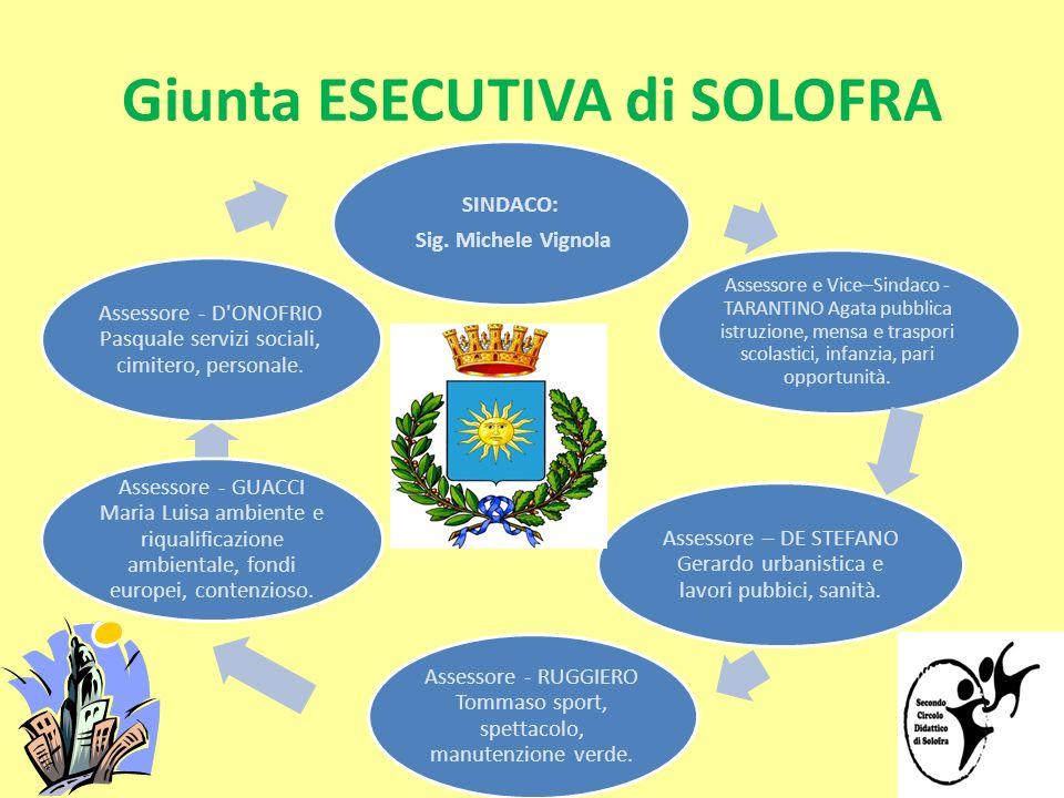 Giunta ESECUTIVA di SOLOFRA SINDACO: Sig. Michele Vignola Assessore e Vice–Sindaco - TARANTINO Agata pubblica istruzione, mensa e traspori scolastici,