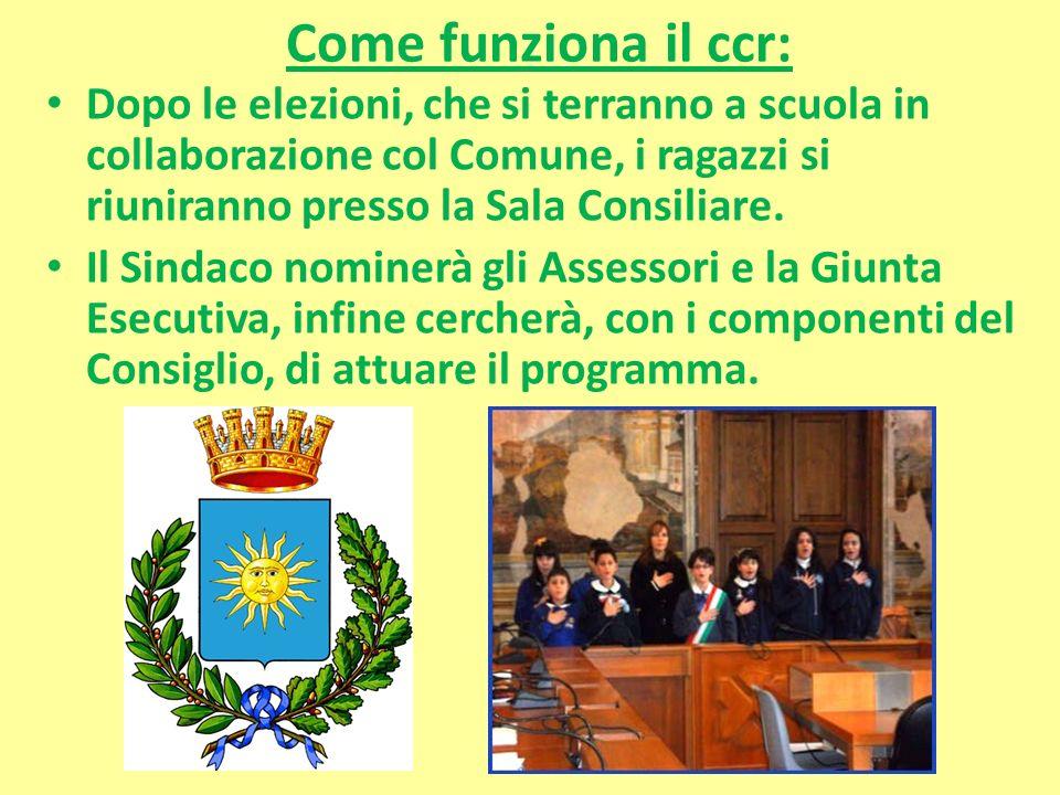 Come funziona il ccr: Dopo le elezioni, che si terranno a scuola in collaborazione col Comune, i ragazzi si riuniranno presso la Sala Consiliare. Il S
