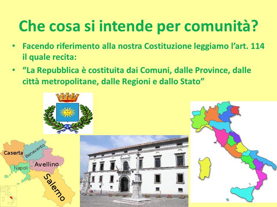 Che cosa si intende per comunità? Facendo riferimento alla nostra Costituzione leggiamo lart. 114 il quale recita: La Repubblica è costituita dai Comu