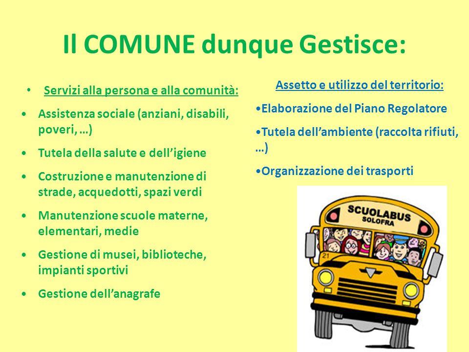 Il COMUNE dunque Gestisce: Servizi alla persona e alla comunità: Assistenza sociale (anziani, disabili, poveri, …) Tutela della salute e delligiene Co