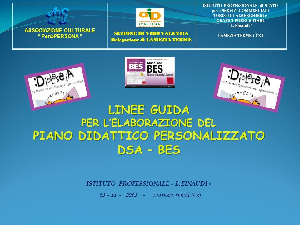 LINEE GUIDA PER LELABORAZIONE DEL PIANO DIDATTICO PERSONALIZZATO DSA – BES ISTITUTO PROFESSIONALE « L.EINAUDI « 13 – 11 - 2013 - LAMEZIA TERME (CZ) AS