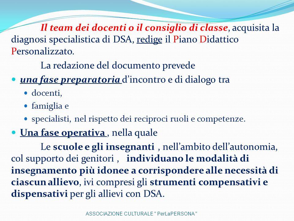 Il team dei docenti o il consiglio di classe, acquisita la diagnosi specialistica di DSA, redige il Piano Didattico Personalizzato. La redazione del d