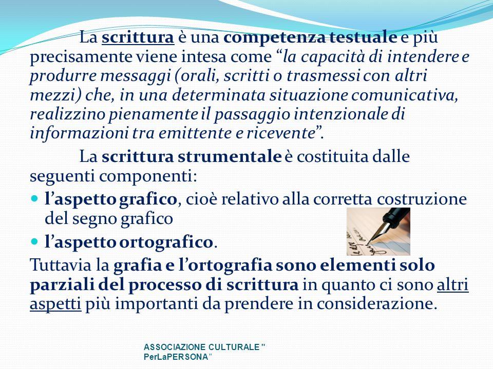 La scrittura è una competenza testuale e più precisamente viene intesa come la capacità di intendere e produrre messaggi (orali, scritti o trasmessi c