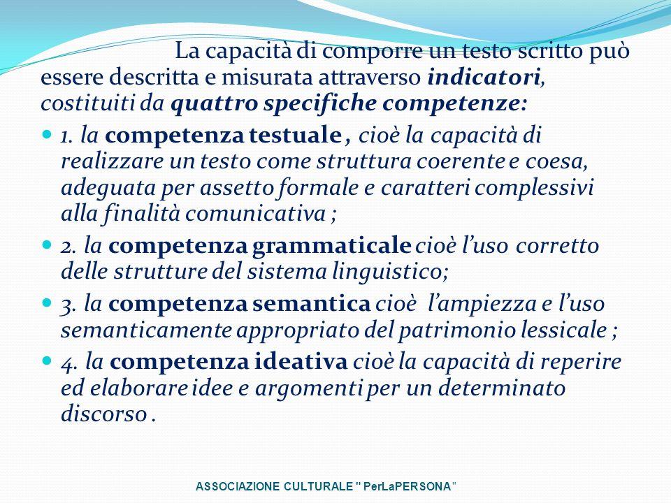 La capacità di comporre un testo scritto può essere descritta e misurata attraverso indicatori, costituiti da quattro specifiche competenze: 1. la com