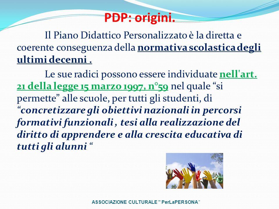 PDP: origini. Il Piano Didattico Personalizzato è la diretta e coerente conseguenza della normativa scolastica degli ultimi decenni. Le sue radici pos