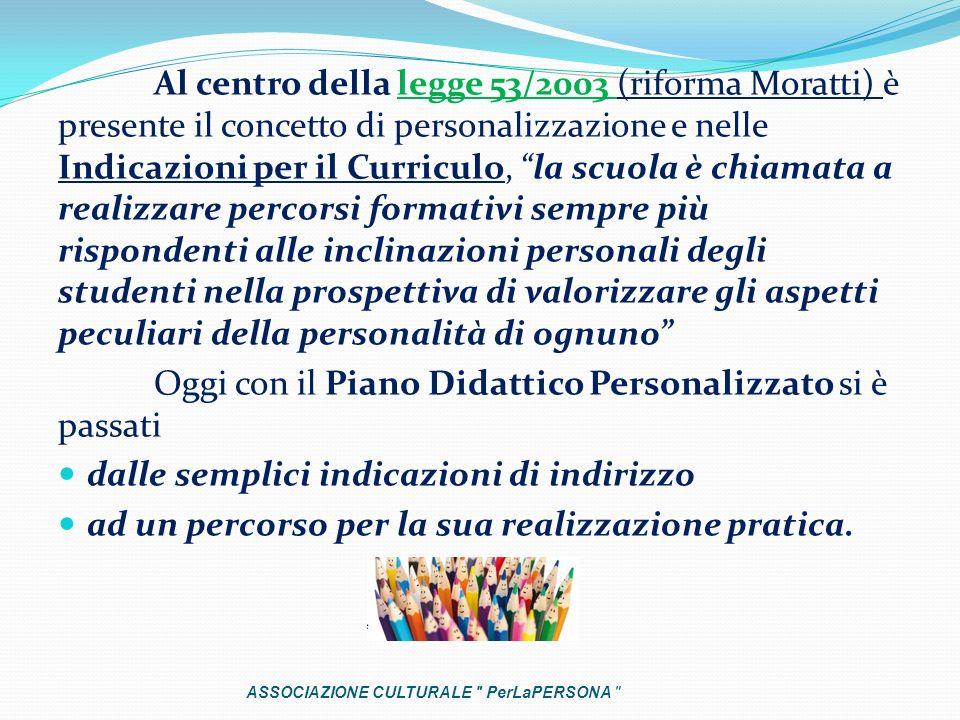 Al centro della legge 53/2003 (riforma Moratti) è presente il concetto di personalizzazione e nelle Indicazioni per il Curriculo, la scuola è chiamata