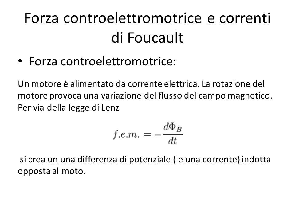 Forza controelettromotrice e correnti di Foucault Forza controelettromotrice: Un motore è alimentato da corrente elettrica. La rotazione del motore pr