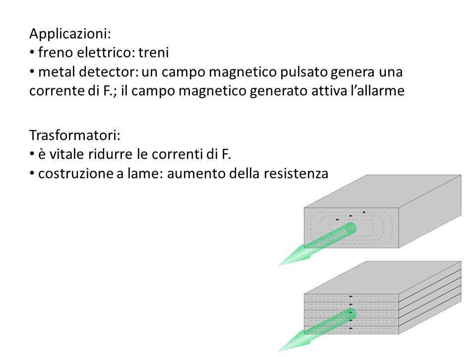 Applicazioni: freno elettrico: treni metal detector: un campo magnetico pulsato genera una corrente di F.; il campo magnetico generato attiva lallarme