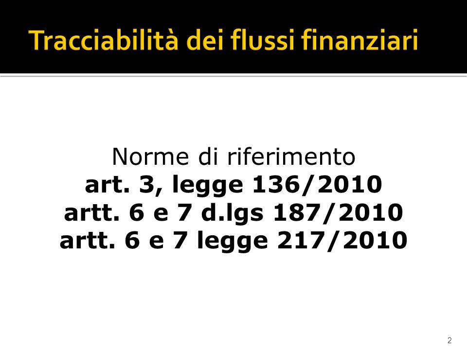 2 Norme di riferimento art. 3, legge 136/2010 artt. 6 e 7 d.lgs 187/2010 artt. 6 e 7 legge 217/2010