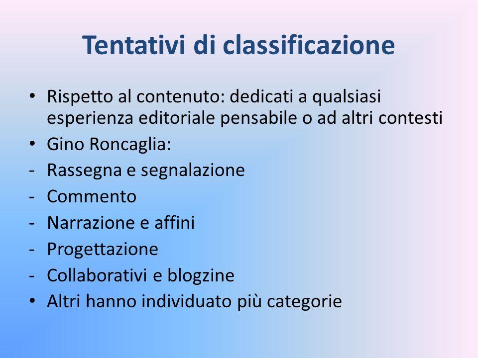 Tentativi di classificazione Rispetto al contenuto: dedicati a qualsiasi esperienza editoriale pensabile o ad altri contesti Gino Roncaglia: -Rassegna