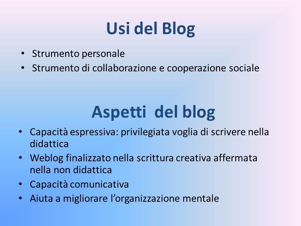 Usi del Blog Strumento personale Strumento di collaborazione e cooperazione sociale Capacità espressiva: privilegiata voglia di scrivere nella didatti