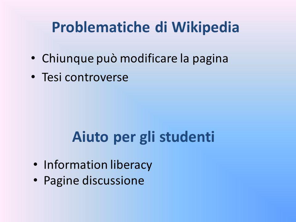 Problematiche di Wikipedia Chiunque può modificare la pagina Tesi controverse Aiuto per gli studenti Information liberacy Pagine discussione