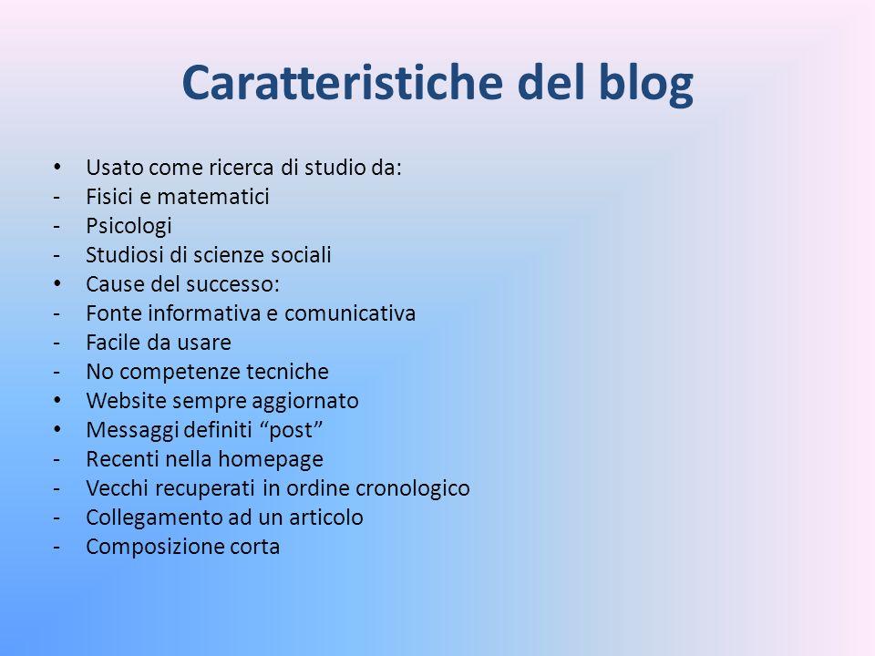 Tipologie di Blog Blog directory: -Di rassegna o segnalazione -Funzione di filtraggio dei link Blog personale: -Tipologia più nota -Scrittura di tipo narrativo -Usato da studenti Blog di attualità: -Usato da giornalisti -Opinioni su argomenti non trattati sui giornali
