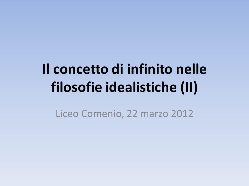 Il concetto di infinito nelle filosofie idealistiche (II) Liceo Comenio, 22 marzo 2012