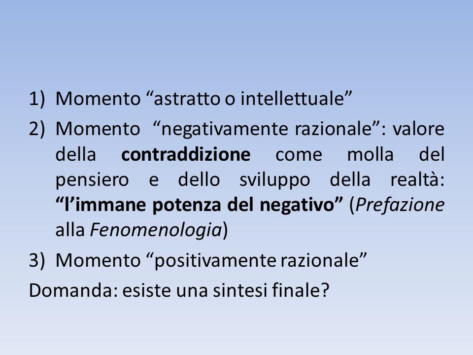 1)Momento astratto o intellettuale 2)Momento negativamente razionale: valore della contraddizione come molla del pensiero e dello sviluppo della realtà: limmane potenza del negativo (Prefazione alla Fenomenologia) 3)Momento positivamente razionale Domanda: esiste una sintesi finale