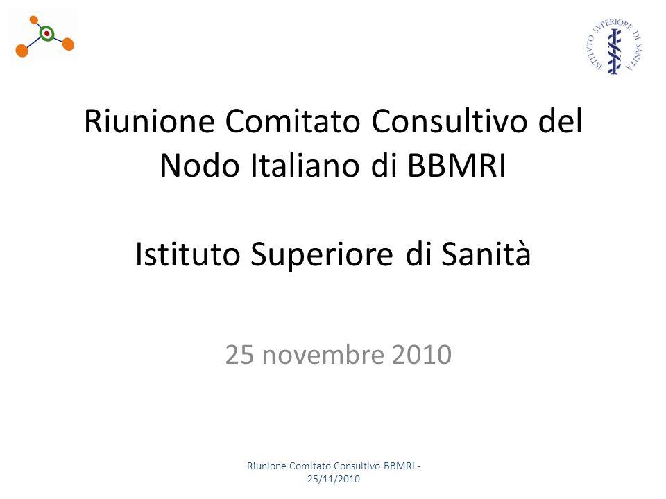 Riunione Comitato Consultivo del Nodo Italiano di BBMRI Istituto Superiore di Sanità 25 novembre 2010 Riunione Comitato Consultivo BBMRI - 25/11/2010