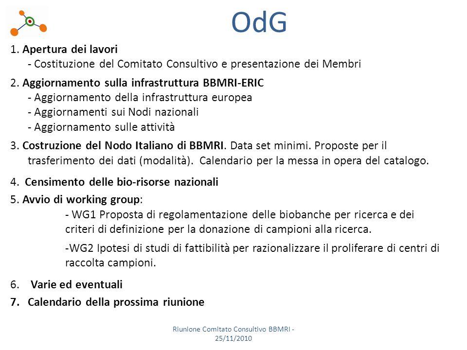 OdG 1. Apertura dei lavori - Costituzione del Comitato Consultivo e presentazione dei Membri 2.