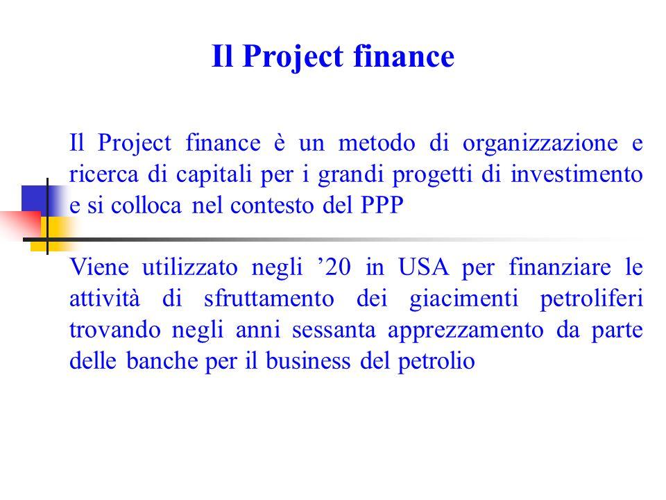 Il Project finance Il Project finance è un metodo di organizzazione e ricerca di capitali per i grandi progetti di investimento e si colloca nel contesto del PPP Viene utilizzato negli 20 in USA per finanziare le attività di sfruttamento dei giacimenti petroliferi trovando negli anni sessanta apprezzamento da parte delle banche per il business del petrolio