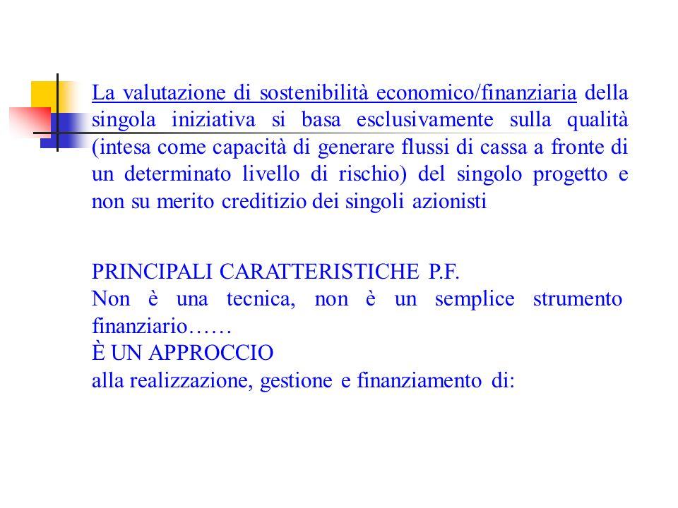 La valutazione di sostenibilità economico/finanziaria della singola iniziativa si basa esclusivamente sulla qualità (intesa come capacità di generare flussi di cassa a fronte di un determinato livello di rischio) del singolo progetto e non su merito creditizio dei singoli azionisti PRINCIPALI CARATTERISTICHE P.F.