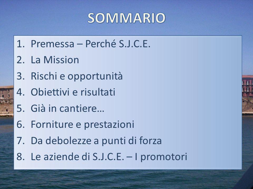 1.Premessa – Perché S.J.C.E. 2.La Mission 3.Rischi e opportunità 4.Obiettivi e risultati 5.Già in cantiere… 6.Forniture e prestazioni 7.Da debolezze a