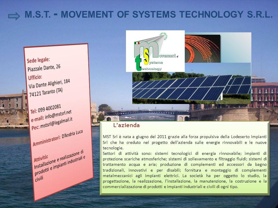 Lazienda MST Srl è nata a giugno del 2011 grazie alla forza propulsiva della Lodeserto Impianti Srl che ha creduto nel progetto dellazienda sulle ener