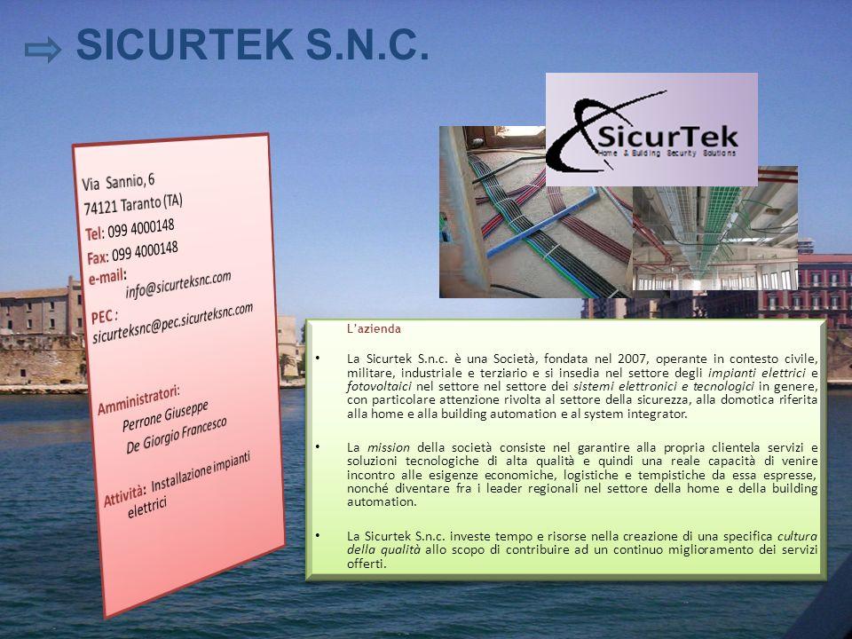 Lazienda La Sicurtek S.n.c. è una Società, fondata nel 2007, operante in contesto civile, militare, industriale e terziario e si insedia nel settore d