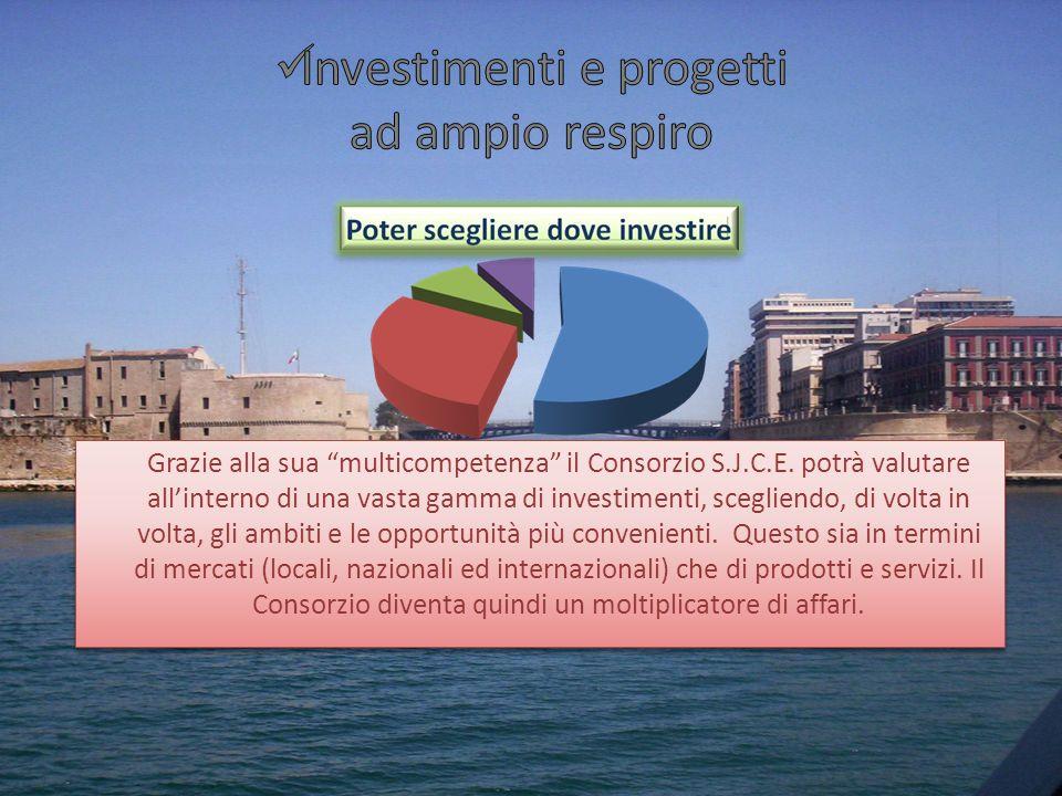 Grazie alla sua multicompetenza il Consorzio S.J.C.E. potrà valutare allinterno di una vasta gamma di investimenti, scegliendo, di volta in volta, gli