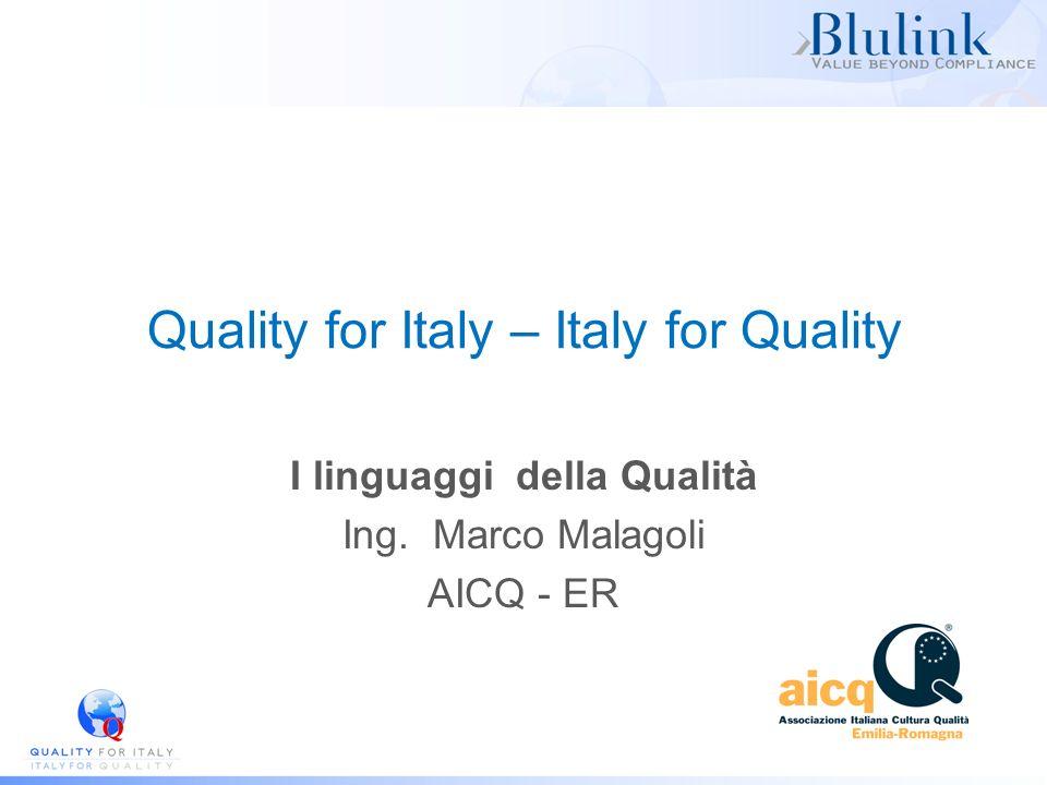 Quality for Italy – Italy for Quality I linguaggi della Qualità Ing. Marco Malagoli AICQ - ER