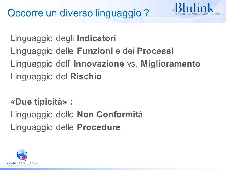 Occorre un diverso linguaggio ? Linguaggio degli Indicatori Linguaggio delle Funzioni e dei Processi Linguaggio dell Innovazione vs. Miglioramento Lin