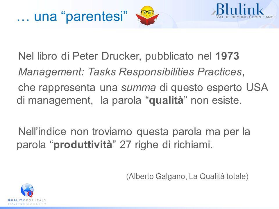 … una parentesi Nel libro di Peter Drucker, pubblicato nel 1973 Management: Tasks Responsibilities Practices, che rappresenta una summa di questo espe