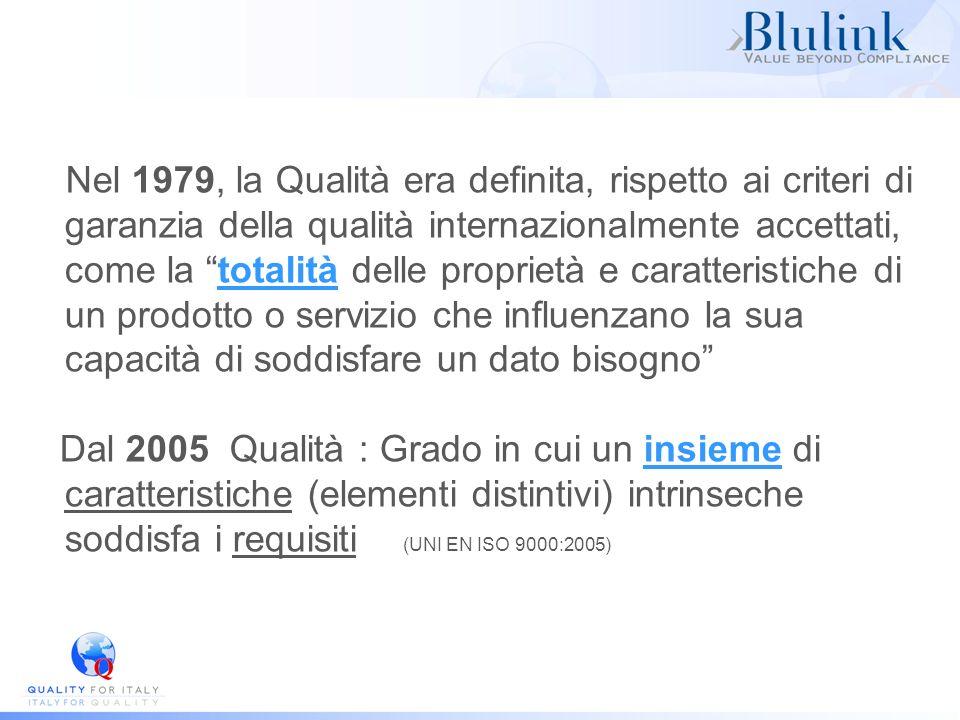 Nel 1979, la Qualità era definita, rispetto ai criteri di garanzia della qualità internazionalmente accettati, come la totalità delle proprietà e cara