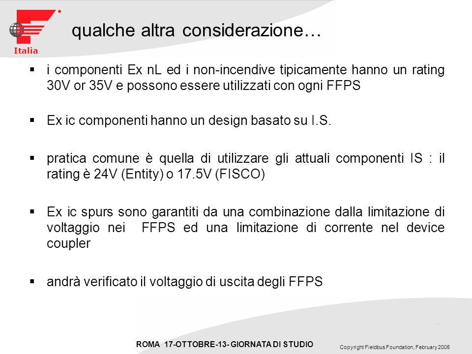 ROMA 17-OTTOBRE-13- GIORNATA DI STUDIO Copyright Fieldbus Foundation, February 2005 Italia qualche altra considerazione… i componenti Ex nL ed i non-incendive tipicamente hanno un rating 30V or 35V e possono essere utilizzati con ogni FFPS Ex ic componenti hanno un design basato su I.S.