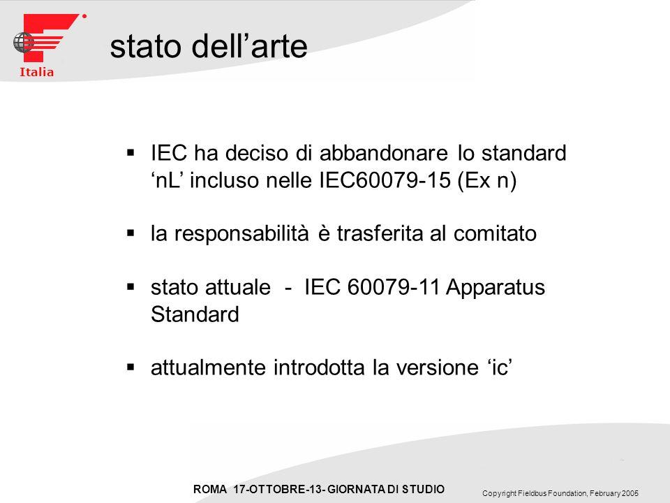 ROMA 17-OTTOBRE-13- GIORNATA DI STUDIO Copyright Fieldbus Foundation, February 2005 Italia stato dellarte IEC ha deciso di abbandonare lo standard nL incluso nelle IEC60079-15 (Ex n) la responsabilità è trasferita al comitato stato attuale - IEC 60079-11 Apparatus Standard attualmente introdotta la versione ic